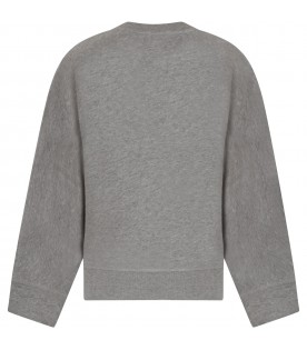 Grey sweatshirt for girl with black and white logo