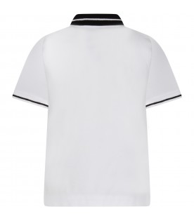 White kids polo shirt with logo