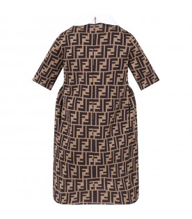 Light brown girl dress with double FF