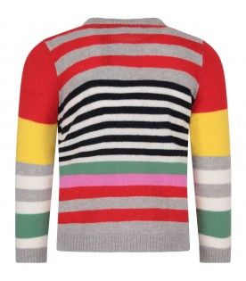 Multicolor girl sweater with white cloud
