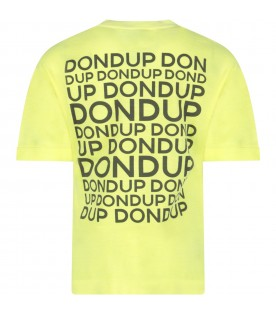 Neon yellow T-shirt for boy with grey logo