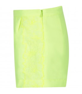 Neon yellow girl short with flowers