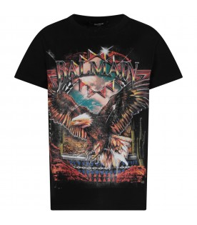 Black boy T-shirt with eagle