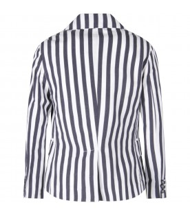White and blue boy jacket with stripes
