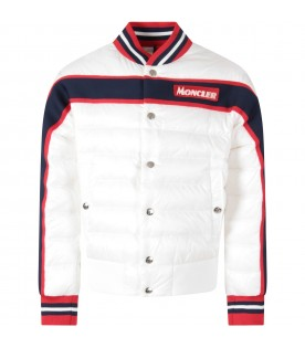 White boy jacket with white logo