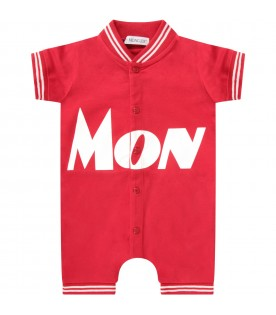 Red boy rompers with white logo