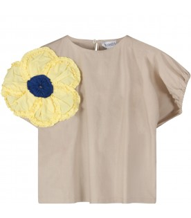 Beige girl blouse with blue and yellow flower