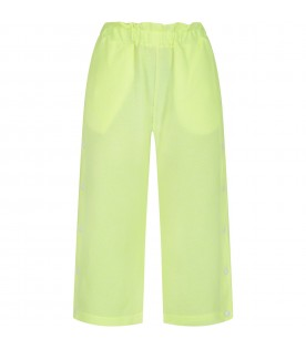 Neon yellow girl pants with rubbered patch