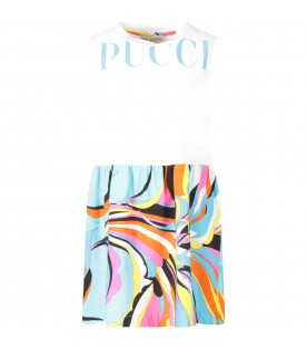 White and light blue girl dress with iconic prints