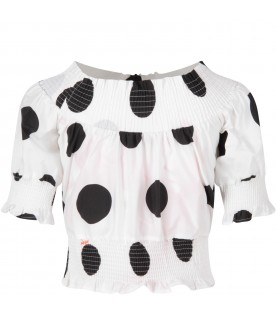 White girl top with macro polka-dots