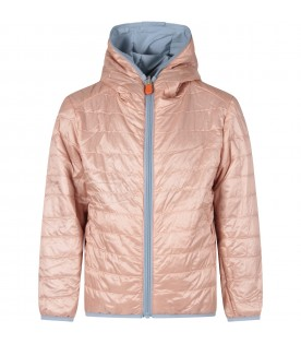 Reversible jacket in pink and light blue for girl