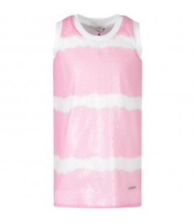 Sequined dress in pink and white for girl
