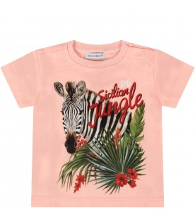 Pink babygirl t-shirt with zebra
