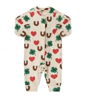 Ivory babykids babygrow with colorful prints