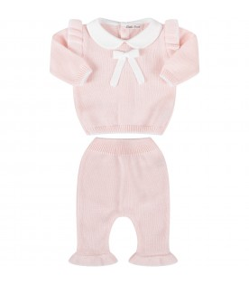 Pink suit with white bow for baby girl