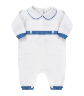 White babygrow with blue details for baby boy