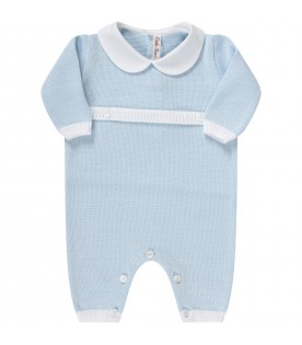 Light blue babygrow with white details for baby boy
