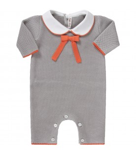 Grey babygrow with orange for baby boy