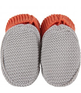 Bicolor bootee in grey and orange for baby boy