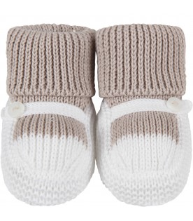 Bicolor bootee inwhite and beige for baby boy