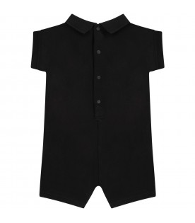 Black babyboy rompers with logo