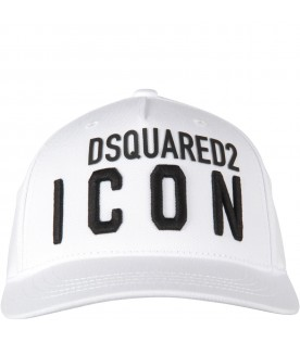White kids hat with logo