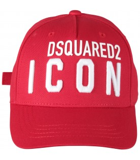 Red kids hat with logo