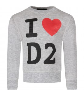 Grey sweatshirt for kid with logo and heart