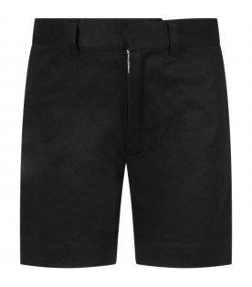 Black short for boy with red logo