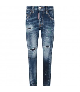 Denim ''Twist'' jeans for boy with colorful spots
