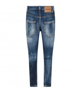 Denim ''Twist'' boy jeans with colorful spots