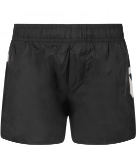 Black swimsuit for boy with double logo