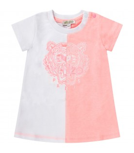 White and pink babygirl dress with iconic tiger