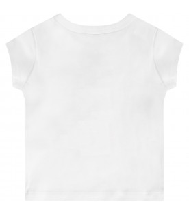 White babygirl T-shirt with lilac iconic tiger