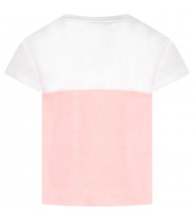 White and pink girl T-shirt with tiger