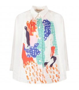 White girl shirt with colorful prints