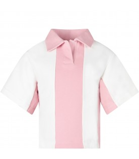 White and pink polo for girl shirt with logo
