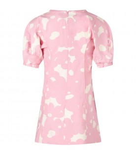 Pink girl dress with ivory spots