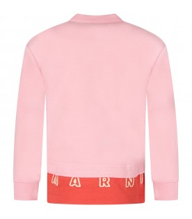 Pink and red sweatshirt for girl with logo