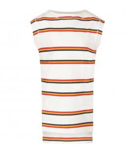 Ivory girl dress with colorful stripes