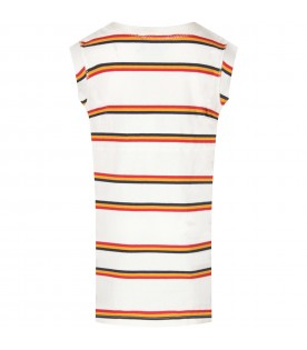 Ivory dress for girl with colorful stripes