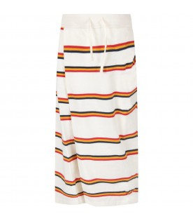 Ivory pants for girl with colorful stripes