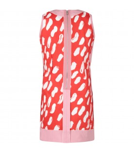 Red girl dress with white spots