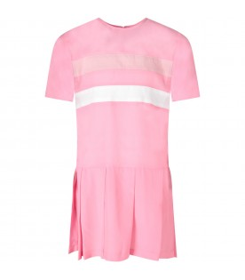 Pink dress for girl with stripes