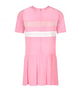Pink girl dress with stripes