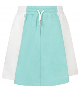 White and teal green skirt for girl with logo