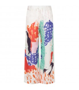 White girl pants with colorful prints