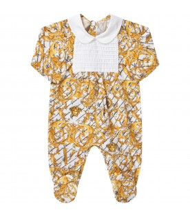 White babykids babygrow with savege barocco prints