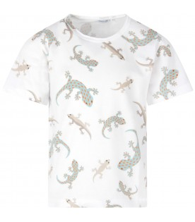 White boy T-shirt with colorful geckos