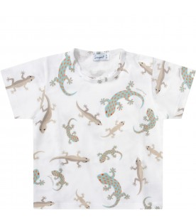 White babyboy T-shirt with colorful geckos